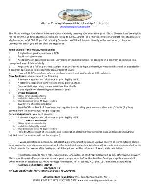 Walter Charley Memorial Scholarship Application