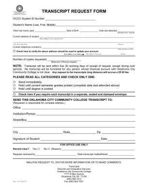 Oklahoma City Community Transcript Request Form