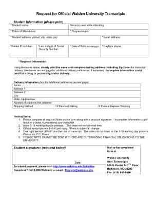 Walden University Transcripts Form