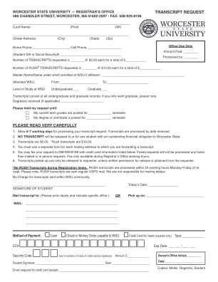 Worcester State University Transcript Form