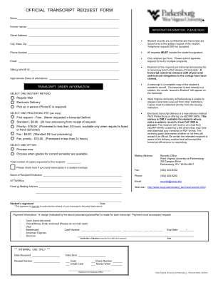 West Virginia University Transcript Request Form
