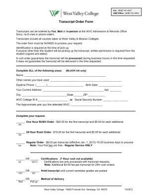 West Valley College Transcript Form Pdf