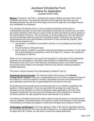 Jacobsen Scholarship Fund Application Form