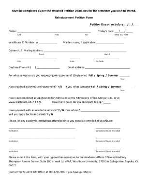 Washburn Reinstatement Petition Form