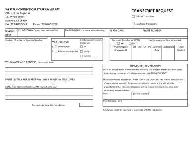 Western Connecticut State University Transcript Form
