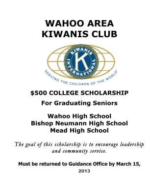 WAHOO AREA KIWANIS CLUB $500 COLLEGE SCHOLARSHIP