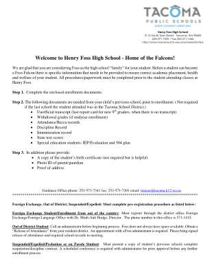 With The Henry Foss Enrollment Packet Tacoma Public Schools