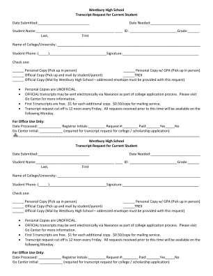 Westbury High School Transcript Request For Current Student Date Bb Houstonisd