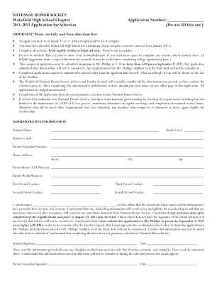 Wakefield High School National Honor Society Form