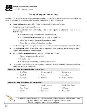 Compare And Contrast Essay Fill In The Blank