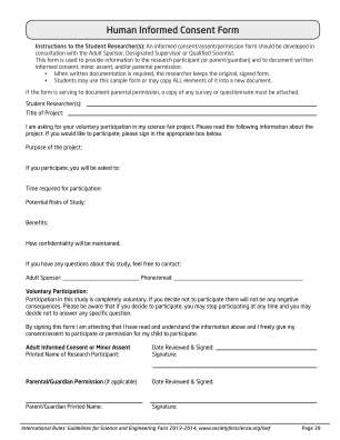 Human Consent Form Science Fair Fillable Form