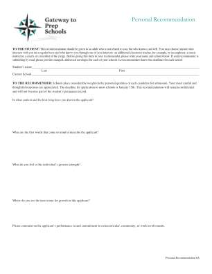 Personal Recommendation Form
