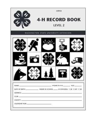 Washington 4 H Record Book