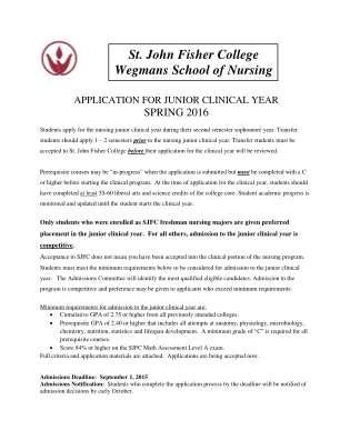 Wegmans School Of Nursing Clinical Year Application Spring Sjfc