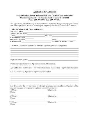Westhill High School Agriscience Program Form