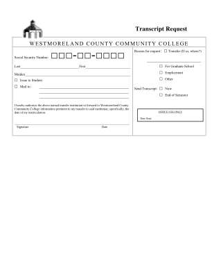 Westmoreland County Community College Transcript Request Form