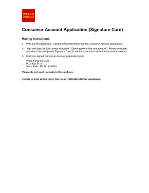 Wells Fargo Consumer Account Application