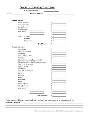 Operating Statement Template Form