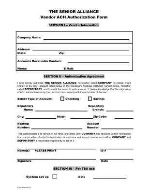 Vendor Ach Payment Authorization Form