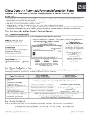 Wells Fargo Form Deposit 2013 2019