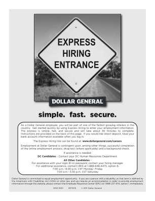 Dollar General Careers Express Hiring Form
