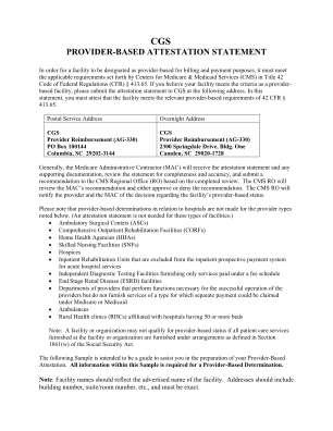 Cgs Provider Based Billing Attestation Statement Form
