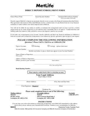 Metlife Direct Deposit Online Form
