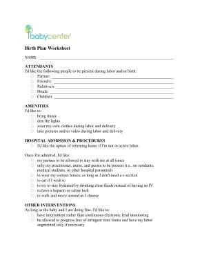 Birth Plan Form