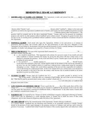 Simple One Page Lease Agreement Form