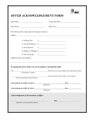 Offer Acknowledgement Form