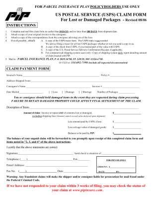Postal Claim Form