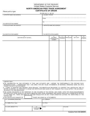 Certificate Of Origin Nafta Form