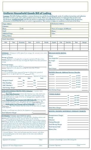 Household Goods Bill Of Form