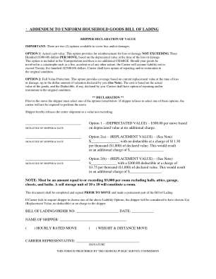 Printable Household Goods Bill Of Lading Form