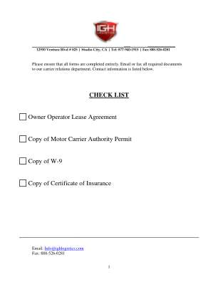 Owner Operator Lease Agreement Form