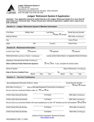 Judges Retirement System Ii Application Fillable Form