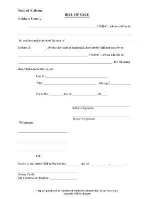 Alabama Vehicle Bill Of Sale Printable Form