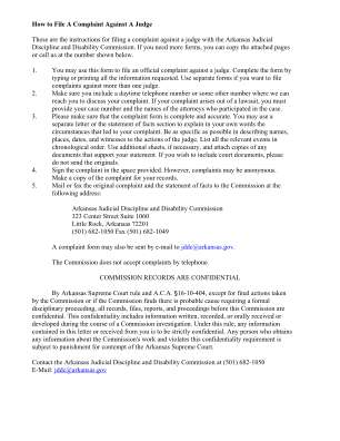 Arkansas Complaint File Form