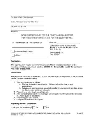 Idaho Conservatorship Fee Category G5 Form