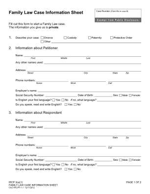 Idaho Family Law Case Information Sheet