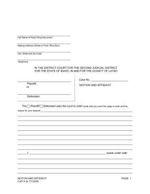 Cvpi 4 3x Generic Motion And Affidavit Latah County Latah Id