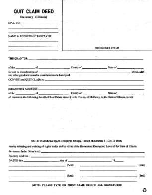Quit Claim Deed Statutory Mchenry County Co Mchenry Il
