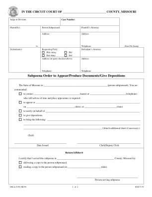 Subpoena Template Form