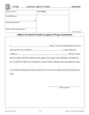 Missouri Garnishment Laws Head Of Household Form