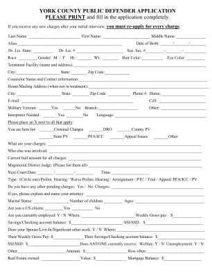 York County Public Defender Application