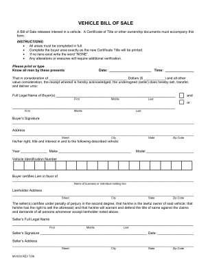 Vehicle Bill Sale Form