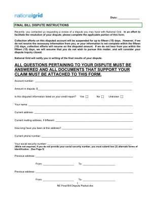 National Grid Bill Dispute Form