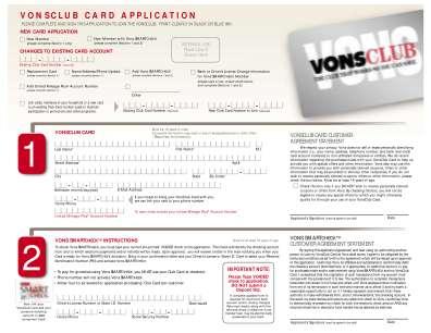 Vons Club Savings Form