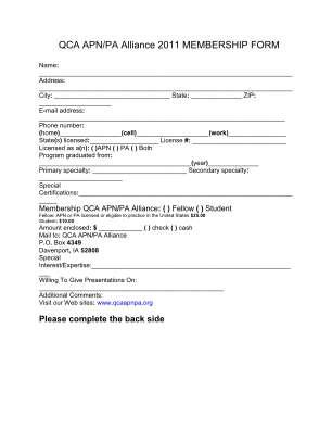 Qca Online Form
