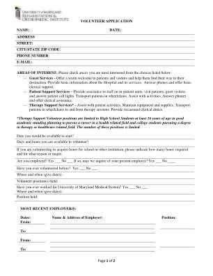 Kernan Hospital Volunteer Application Form